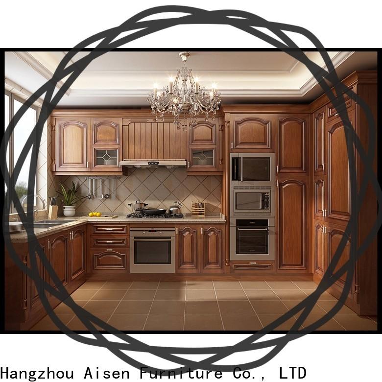 AisDecor dark wood kitchen cabinets from China