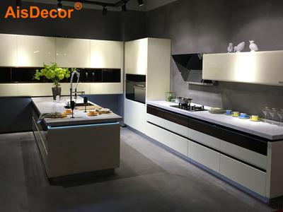 Ivory White Built-in LED Light Lift Up door Kitchen