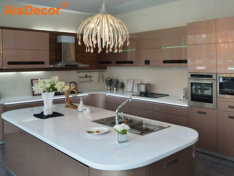 Metallic Rose Golden Glossy Lacquer Kitchen
