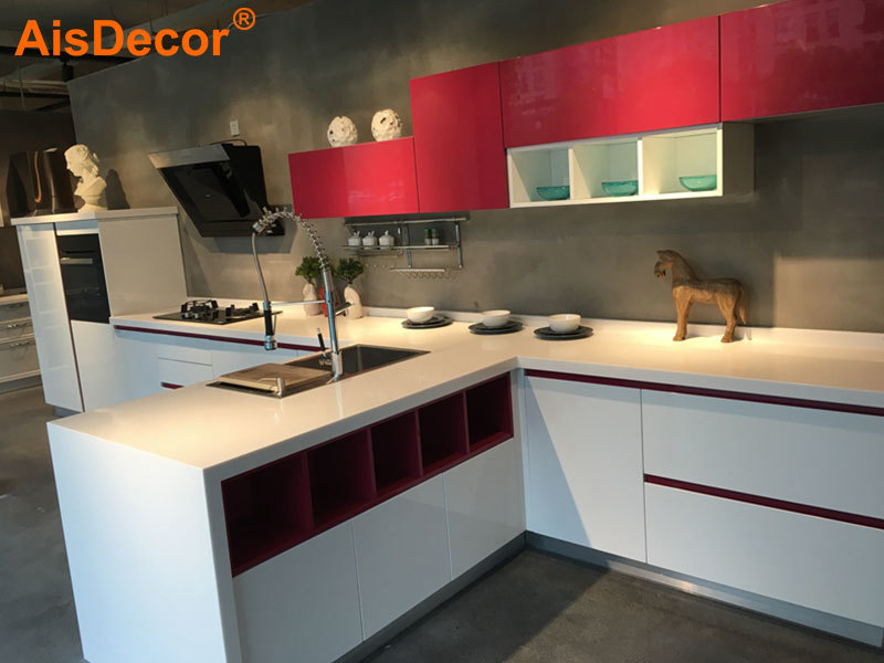 Red and White Small Apartment Modern Kitchen