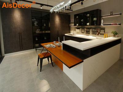 Contemporary Dark Wooden Laminate Glass Door Design Kitchen