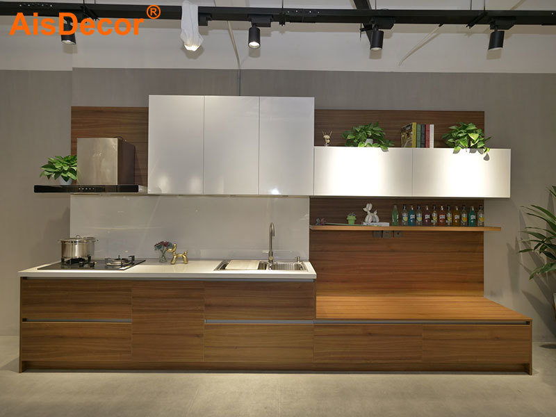 Modern Small Apartment White Lacquer and Laminate Kitchen