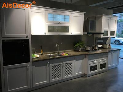 White Glass Door LED Light PVC Kitchen