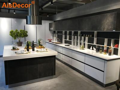 White Glass and Dark Brown Combo Pocket Door Kitchen