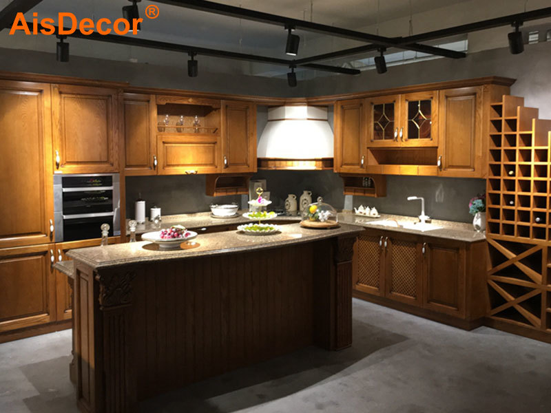 High Grade Oak Solid Timber Kitchen With Wine Rack