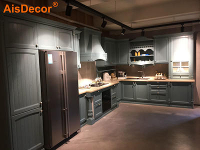 Italian Style Light Blue Solid Timber Kitchen