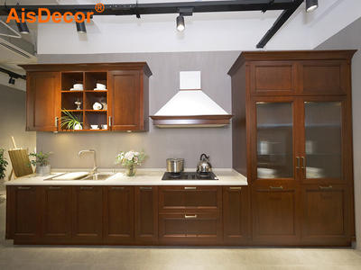 Linear Style Classic Cherry Wood Kitchen with Glass Door Pantry