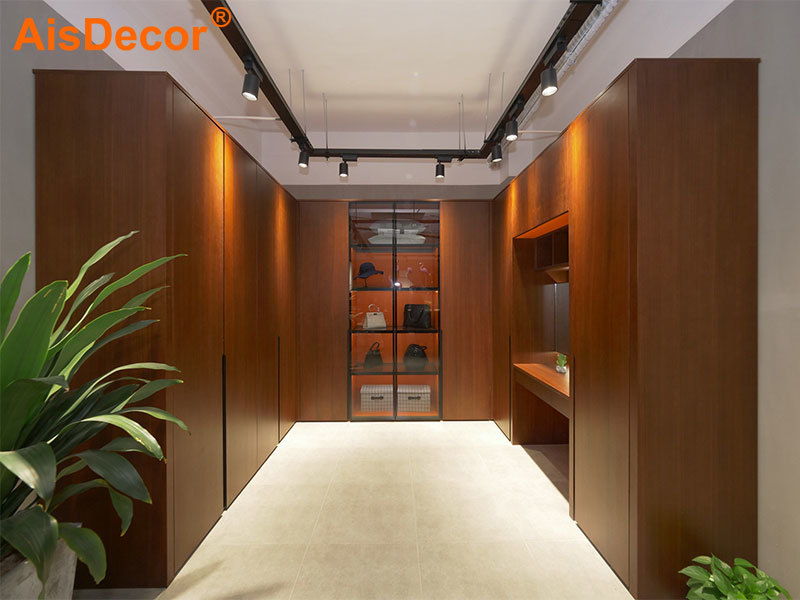 Wooden Laminate Orange Interior Glass Door Walk-in Closet