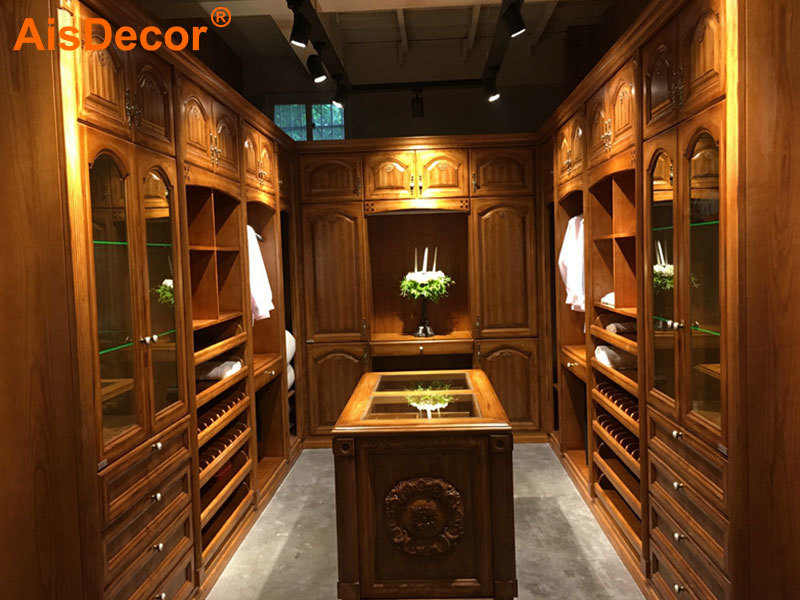 Luxury Oak Solid Timber Walk-in Closet with Glass Countertop Island