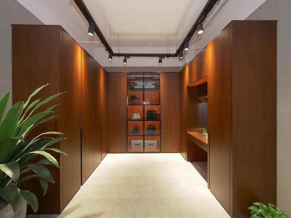 Walk-in closet with door