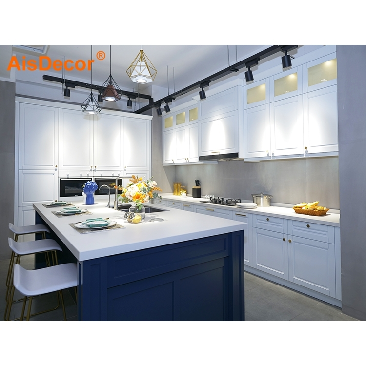 Top Quality Wholesale White Solid Wood Kitchen Cabinet With Blue Island