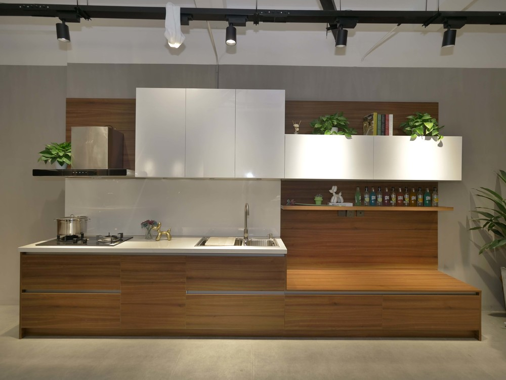 Simple Design Apartment Cheap Laminate Lacquer Mixed Style Kitchen Cabinet