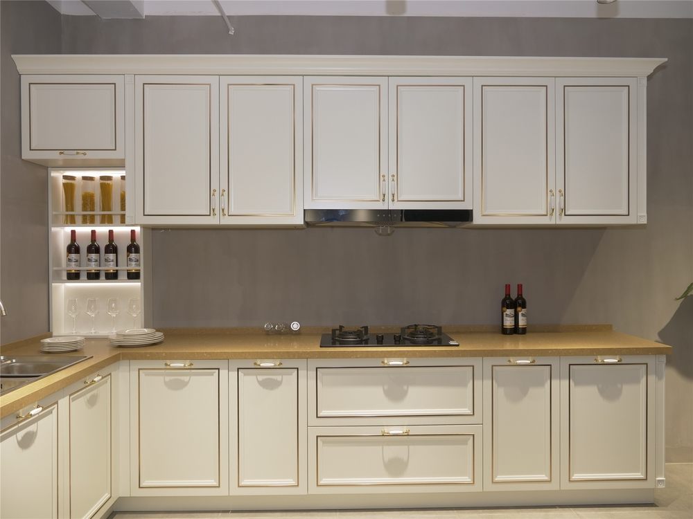 Luxury White L Shape Solid Wood Kitchen Cabinet