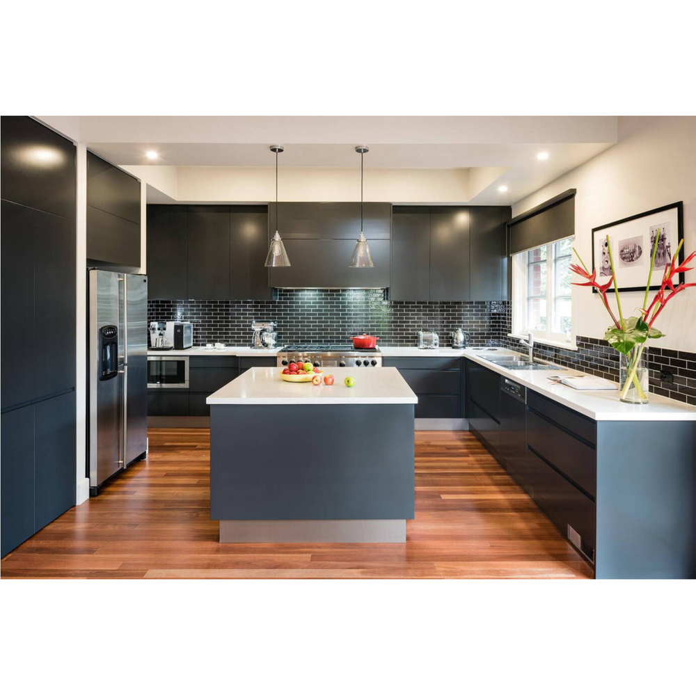 Black Simple Modern Design Lacquer Laminate Kitchen Cabinet With Island