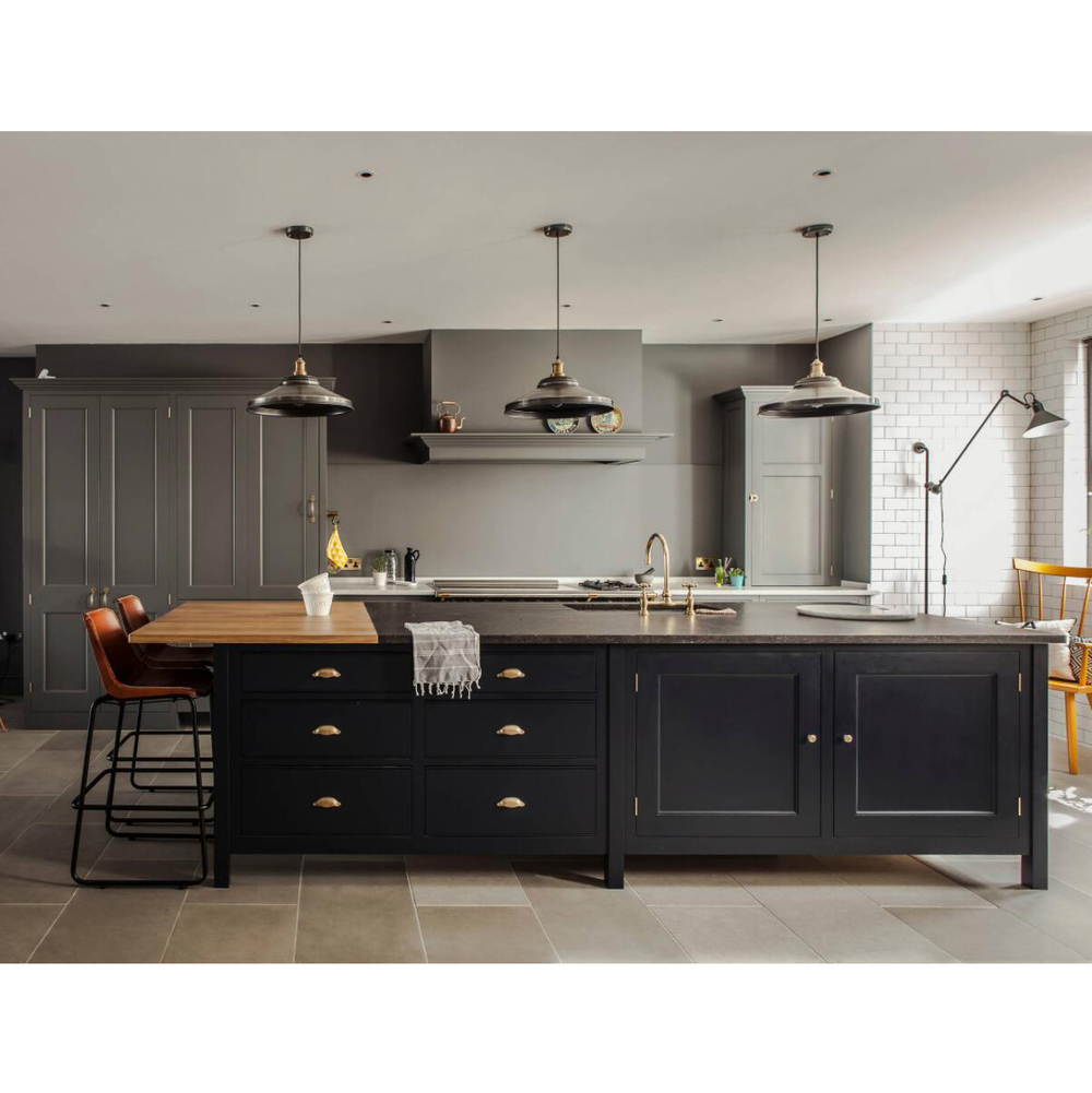 Hot Design Classic Style Black grey Solid Wood Kitchen Cabinet