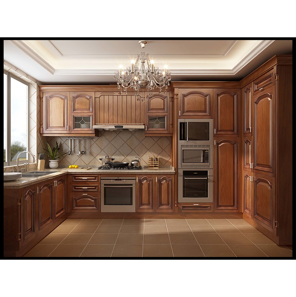 China Supplier Completely Customized Design Solid Wood Kitchen Cabinet