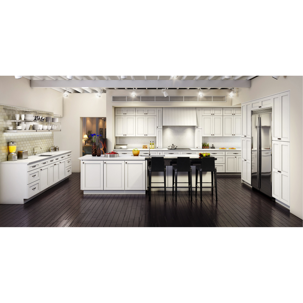 Top Quality White Color Shaker Style Kitchen Cabinet With Island