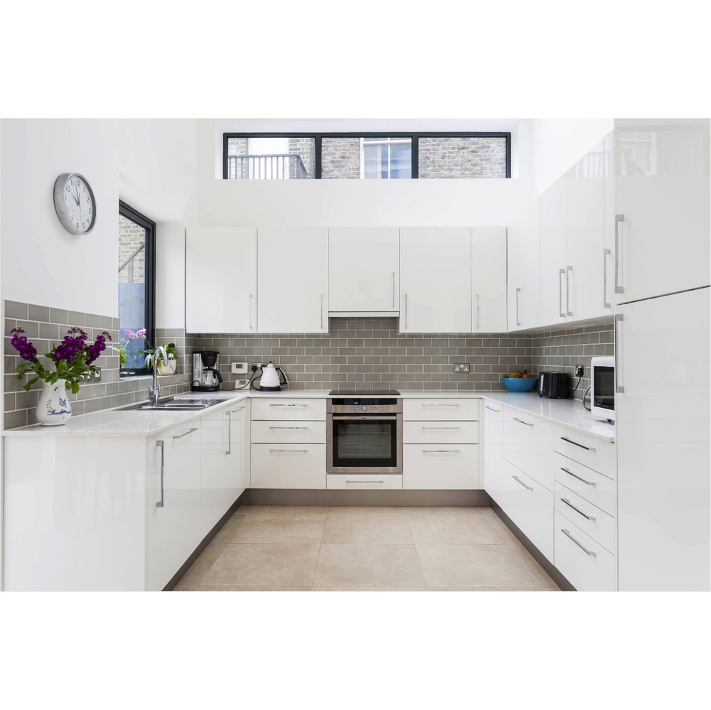 Luxury Apartment White High Gloss Lacquer Kitchen Cabinet